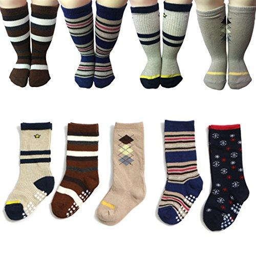 Kakalu Baby Non Slip Toddler Socks 5 Pairs Walker Boys Anti Skid Slip Knit Knee High Cotton Long Foot Sneakers Socks Wih Grips For 1-3 Years]()