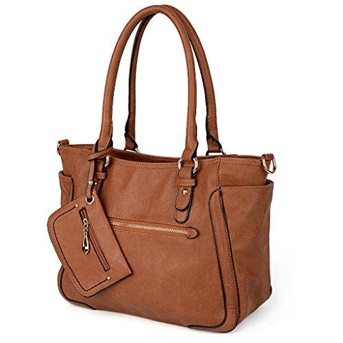UTO Women Handbag Set 2 Pieces Bag PU Leather Tote Shoulder Purse Bags Wallet Strap Brown