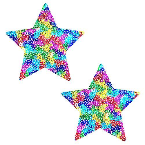 (Neva Nude UniPoo Multicolor Sparkle Sequin Star Nipztix Pasties Nipple Covers)