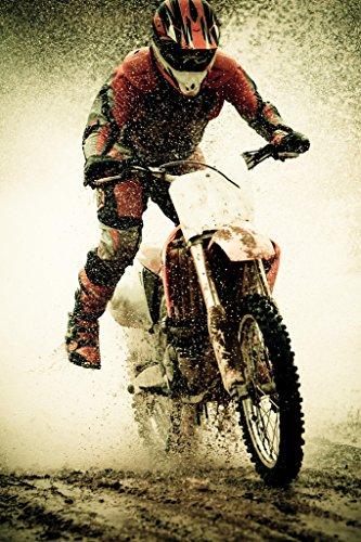 Dirt Bike Rider Splashing Water Photo Art Print Poster 12x18 inch