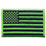 Blue Green US Flag Patch Velcro or Iron-on (Iron-On)
