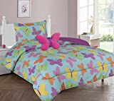 MB Collections Turquoise, Purple, Pink Butterflies 3 Piece Printed with 1 Pillowcase for Girls / Kids/ Teens # Twin Size 3 Pcs Comforter Set