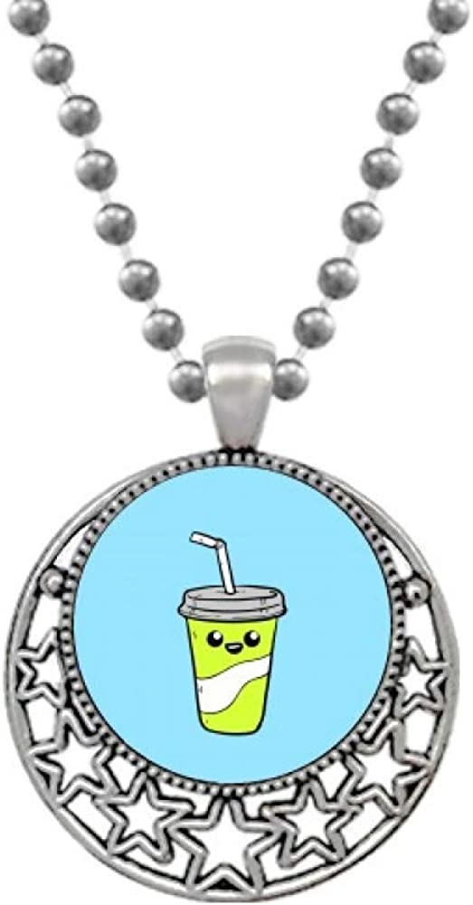 OFFbb-USA Drawing Expression Lovely Drink Bottle Necklaces Pendant Retro Moon Stars Jewelry