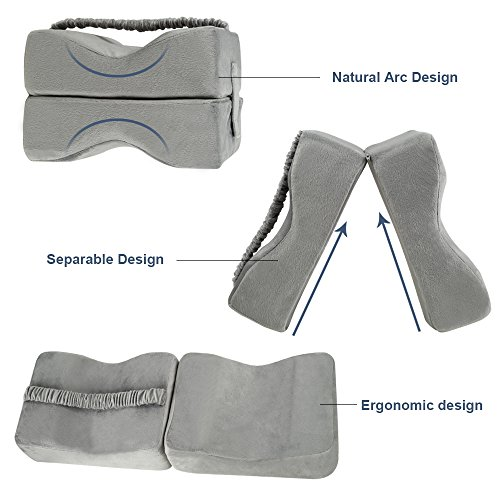 TTLIFE Sciatic Nerve Pain Relief Knee Pillow Orthopedic Doctor Recommend for Sciatica, Back Pain, Leg Pain, Pregnancy, Hip and Joint Pain - Memory Foam Cushion with Washable Cover,Grey by TTLIFE (Image #3)