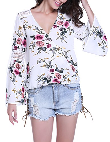 MISS MOLY Casual Loose Fit Crossover V Neck Trumpet Sleeves Long Sleeves Chiffon Tops Blouse Shirt (Sleeve Womens Long Trumpet)