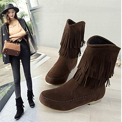 boots flat bottomed Frosted boots boots tassel DEDE flat boots large bottomed boots Brown Sandalette wTq7gU