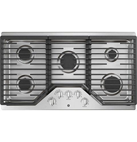 GE JGP5036SLSS 36 Inch Natural Gas Sealed Burner Style Cooktop with 5 Burners, ADA Compliant, in Stainless Steel