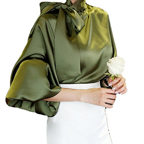 Satin Blouse Top - Manka Vesa Women's Silky Vintage Satin Chiffon Bow Tie Neck Shirts Long Lantern Sleeve Blouse Tops ArmyGreen
