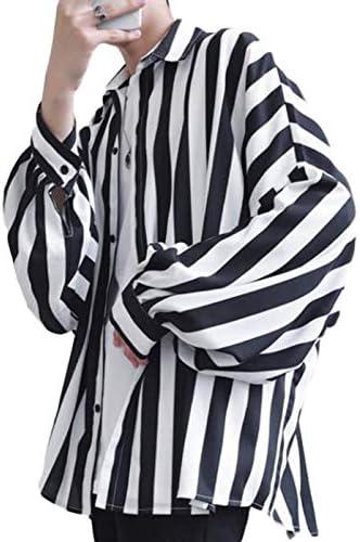 QYYストライプシャツ メンズ ゆったり 長袖 シャツ カジュアル ファッション 開襟シャツ おしゃれ ストライプ柄 トップス 韓国風 ビック シルエット 長袖シャツ 春 秋