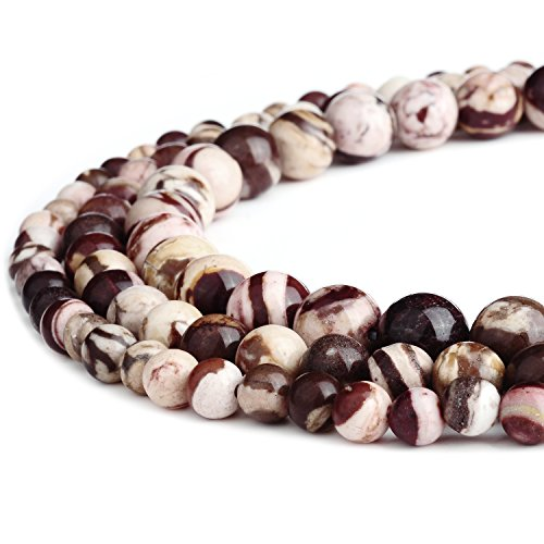 RUBYCA Natural Australian Zebra Jasper Gemstone Round Loose Beads for Jewelry Making 1 Strand - 8mm