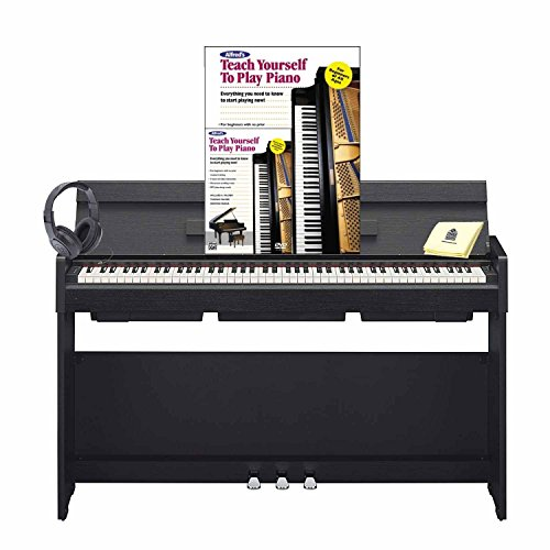 Yamaha YDP-S34 Arius Stylish 88 Key Digital Piano with 88 Graded Hammer Standard Action Keys (Includes Power Supply & Song Book) with Piano (Book & DVD) Headphone and Zorro Piano Polish Cloth – Black