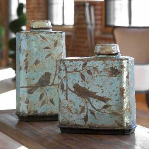Unique Luxury Square Bird Crackled Blue Ceramic Jar Set