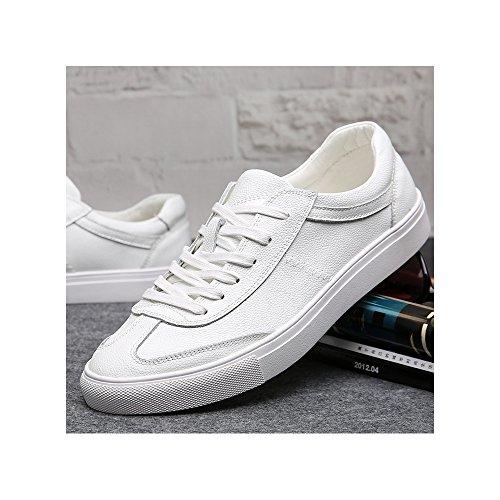 Herren Sneakers Sportschuhe Turnschuhe Laufschuhe Basketballschuh aus Leder Freizeit Weiß