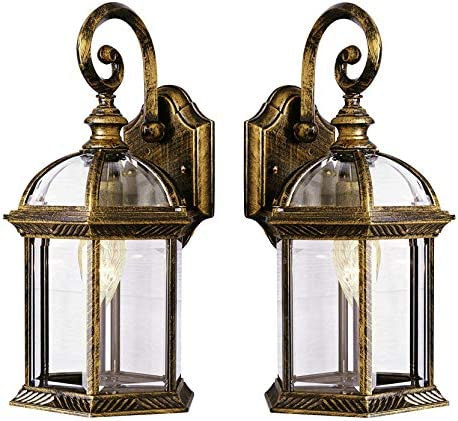 Wall Lanterns Weather-Resistant Outdoor Lamps Decorative Scroll Sconce Arm, Scalloped Edges Clear Beveled Glass for Front Porch, Backyard Gardens Black Gold 2 Pack