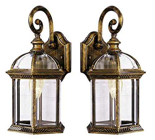 Wall Lanterns | Weather-Resistant Outdoor Lamps | Decorative Scroll Sconce Arm, Scalloped Edges & Clear Beveled Glass for Front Porch, Backyard & Gardens (Black Gold 2 Pack)