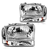 For 1999-2004 Ford Excursion F250 F350 F450 F550 Super Duty Headlight Assembly Chrome Housing Clear Lens w/ Signal Lamps (Driver and Passenger Side)