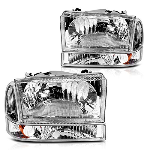 For 1999-2004 Ford Excursion F250 F350 Super Duty Headlight Assembly Chrome Housing Clear Lens + Park/Signal Lamp (Driver and Passenger Side)