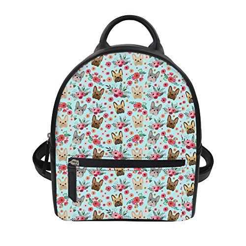 Showudesigns Mini Leather Shoulder Backpack Purse for Girls Women French Bulldog Flower