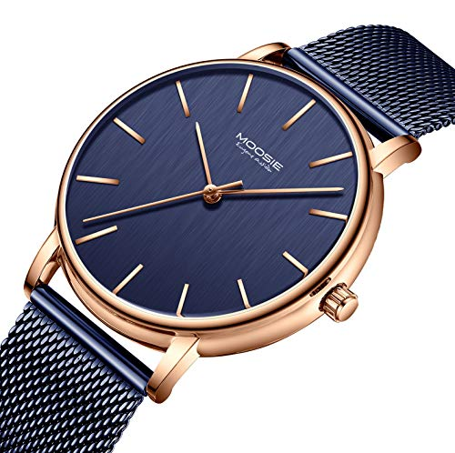 Men's Watches Simple Business Fashion Ultra Thin Unisex Minimalist Dress Analog Quartz Waterproof Wrist Watch with Mesh Band Dark Blue