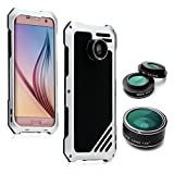 Samsung Galaxy S7 Edge Camera Lens Accessories Kit, OXOQO Shockproof Aluminum Case with 3 in 1 198° Fisheye Lens + 15X Macro Lens + Wide Angle Lens, Silver