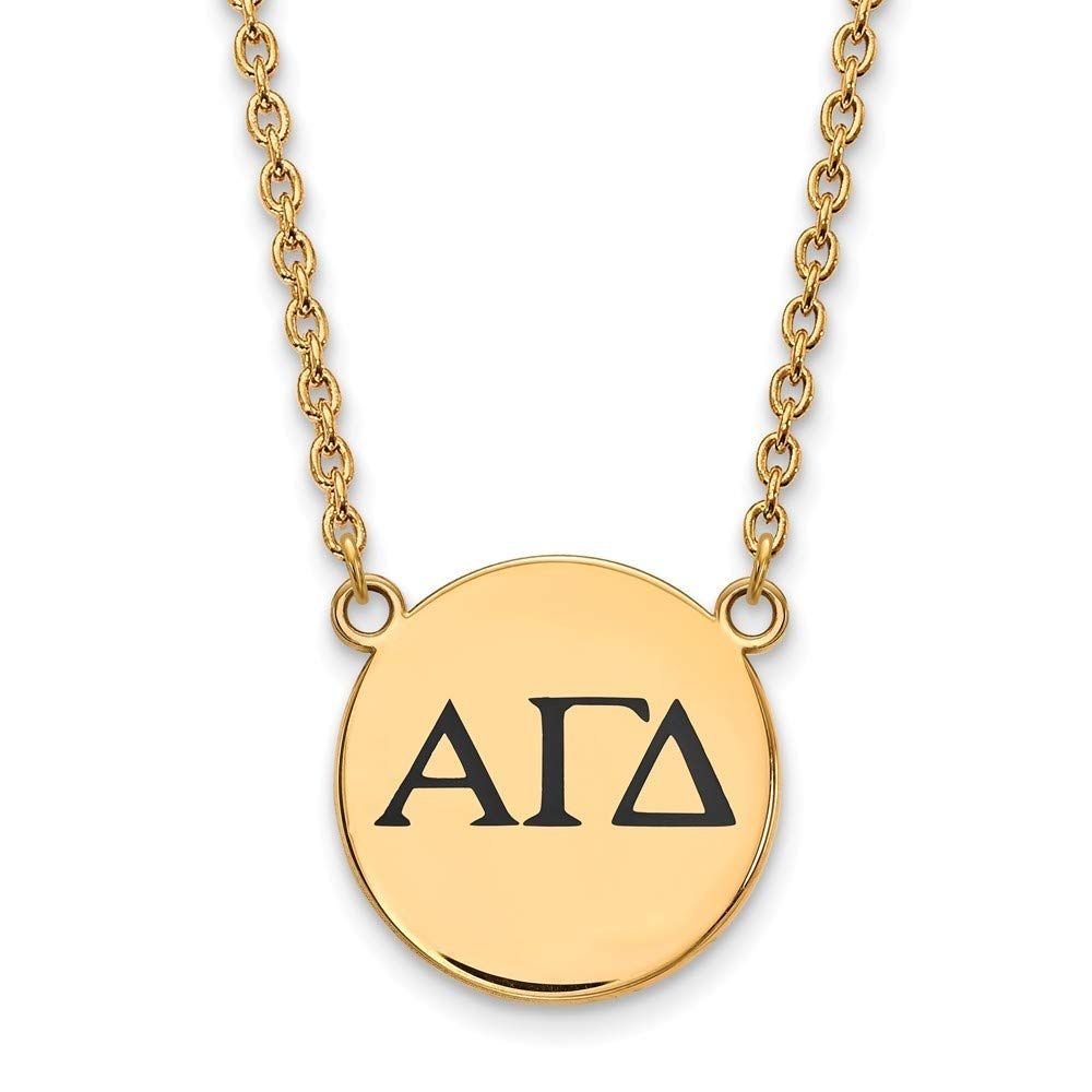 Roy Rose Jewelry Sterling Silver with 14K Yellow Gold-plated LogoArt Alpha Gamma Delta Small Enameled Pendant Necklace