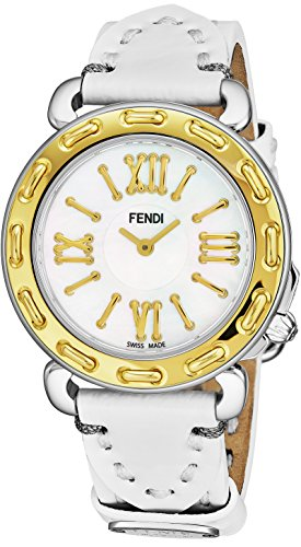 Fendi Selleria Womens Stainless Steel Fashion Swiss Watch - Mother of Pearl Face Yellow Gold Bezel White Leather Strap Dress Watch For Women with Interchangeable Band - Fendi Yellow
