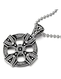 Stainless Steel Mens Women Celtic Cross Pendant Necklace Silver Black Two-tone with 23.6 in Ball Chain