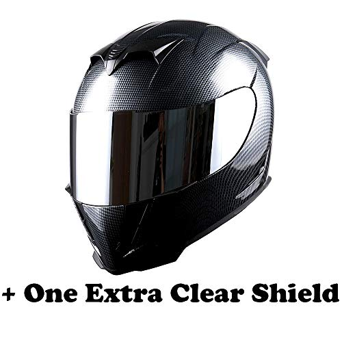 1STorm Motorcycle Full Face Helmet Skull King Carbon Fiber Black + One Extra Clear Shield, Size Large (57-58 CM,22.4/22.8 Inch)