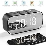 Reloj Despertador Digital--Manba, Bocina Bluetooth, Estéreo Altavoz Inalámbrico Bluetooth 5.0 Portátil Micrófono Incorporado Reloj de Alarma, Entrada 3.5mm AUX/Micro SD/TF/USB, Ideal Viaje, Pantalla de Espejo