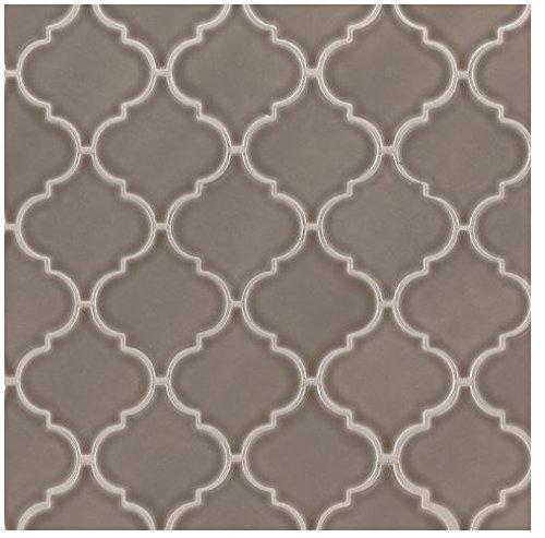 - Artisan Taupe Ceramic Arabesque Mesh-Mounted Glazed Porcelain Mosaic Tile 10.5