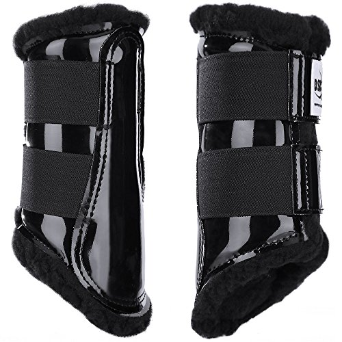 Dressage Sport Boot (DSB, for Horses, Medium, Patent Black/Black Fleece, - Horse Dressage Boots