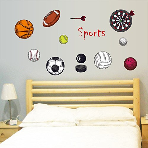DecalMile Sports Wall Decals Basketball Football Wall Stickers Peel And  Stick Removable Wall Art For Kids