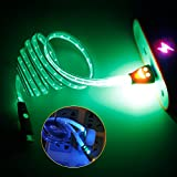 Micro USB Lighting Cable Data Cable with LED Light, for Android Phones Like Samsung, 1 m/3.28 ft (Green)