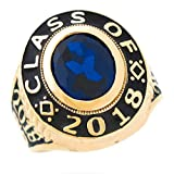 men class rings - 10k Gold Simulated September Birthstone 2018 Graduation Mens Class Ring