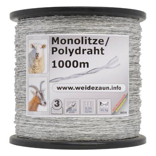 1000 m cordon monofil transparent 2, 5 mm conducteurs : 2 x 0, 50 acier inox clôture électrique