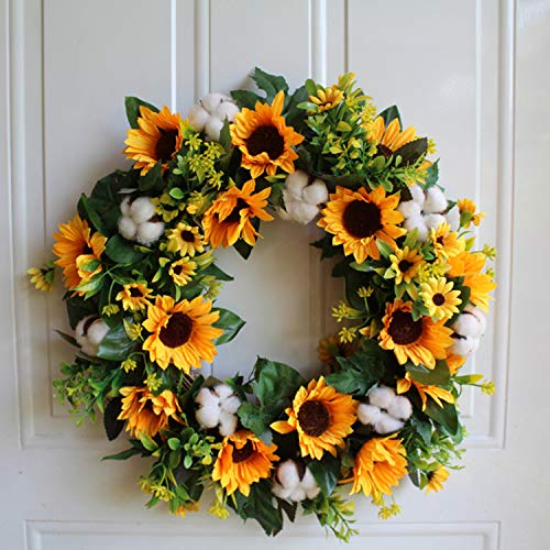 Artificial Sunflower and Cotton Wreath Artificial Yellow Sunflower and White Cotton Wreath Artificial Flower Wreath with Natural Vines for Home Door Wedding Arrangement Decoration