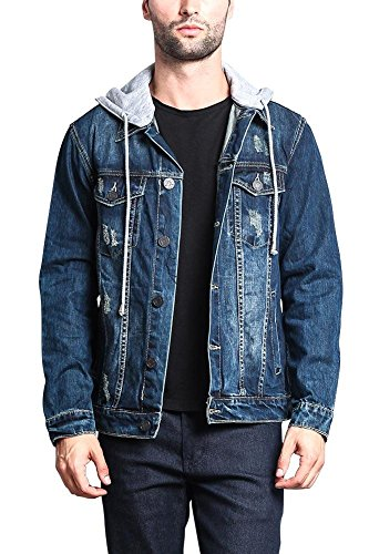 Victorious G-Style USA Hoodie Layered Distressed Denim Jacket with Removable Hood DK109 - Dark Indigo - Large - II1G - Hooded Denim