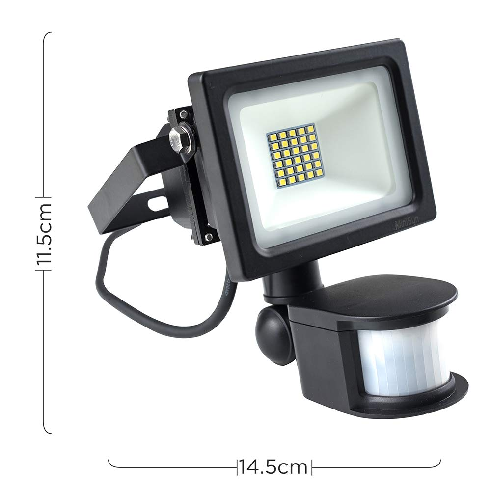 MiniSun IP44 Pro3 25w Integrated LED Outdoor Security Floodlight with PIR Motion Sensor 6000K Cool White