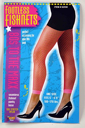 Girls Pop Fairy Costumes (Forum Novelties Women's Novelty Fishnet Leggings, Neon Pink, One Size)