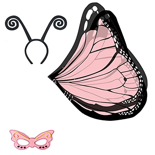 Baby Song Monarch Butterfly Wings Costume with Headband&Mask Pink Butterfly Wings for Girls WA-2