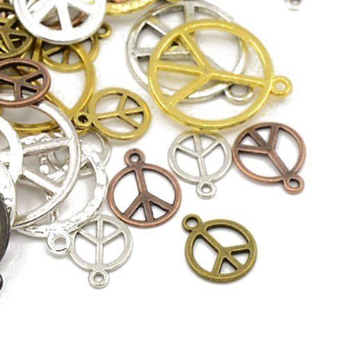 - Pack of 30 Grams Mixed Tibetan Random Shapes & Sizes Charms (PEACE SIGN) - (HA07420) - Charming Beads