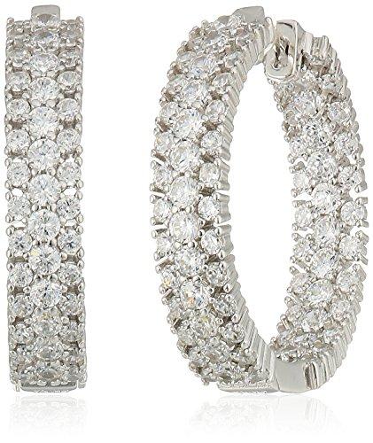Sterling Silver Cubic Zirconia Inside Out Hinged Hoop Earrings
