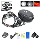 Best LED Headlamp Flash Light - Waterproof Super Bright Head Flashlight & RED Lights Adjustable for Camping Reading Hiking Running Fishing Hunting Cycling - Brightest Focused Work Lamp Headlight