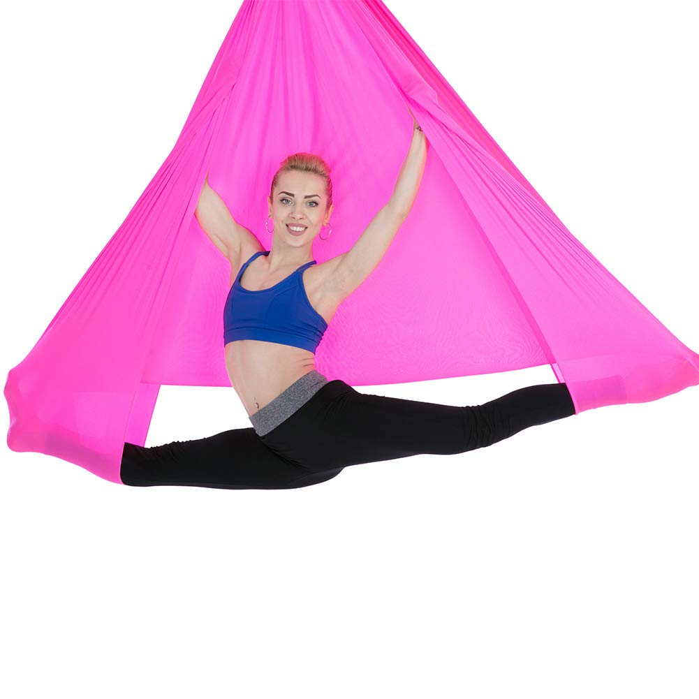 ANBOTA Yoga Trapez Aerial Hammock Swing for Antigravity for Improved Yoga Inversions, Flexibility and Core Strength, Rose Red