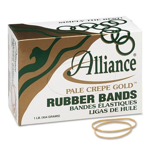 ALLIANCE RUBBER 20195 Pale Crepe Gold Rubber Bands, Size 19, 3-1/2 x 1/16, 1lb -