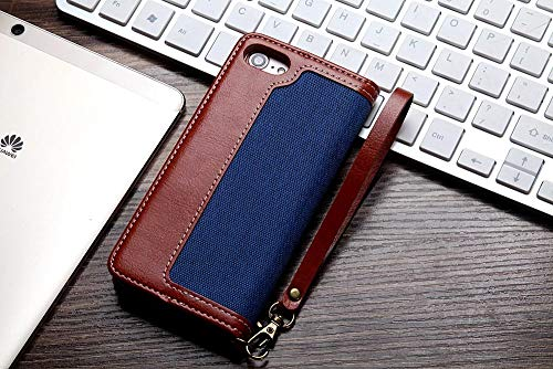 Twinlight Denim Pattern Flip PU Leather Case for iPhone Xs Max XR X XS Case Card Slots Stand Cover for iPhone 7 8 Plus Case Wallet (Navy, for iPhone XR)