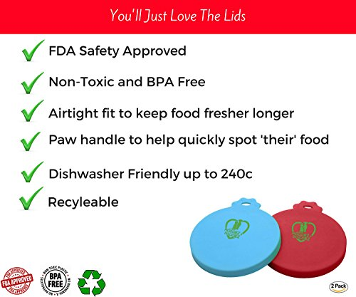 CAN COVER FOR PET FOOD – Pack of Two – FDA Approved Silicone Lids For Cat & Dog Food – Food Covers Seals the Can to… Click on image for further info. 2