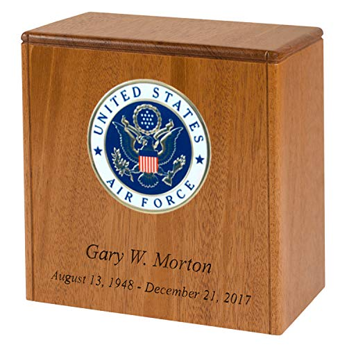 Personalized Wood Cremation Urn for Columbarium Niche Made in The USA & Designed for Arlington National Cemetery Urn Niches with Custom Inscription (Air Force Medallion, Mahogany)