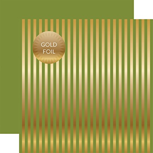 Echo Park Paper DSF17053 Christmas Double-Sided Foiled Stripe Cardstock, 12