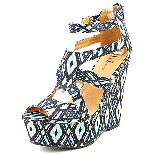 Famous Name Brand Follow Me Women US 9 Multi Color Wedge Sandal